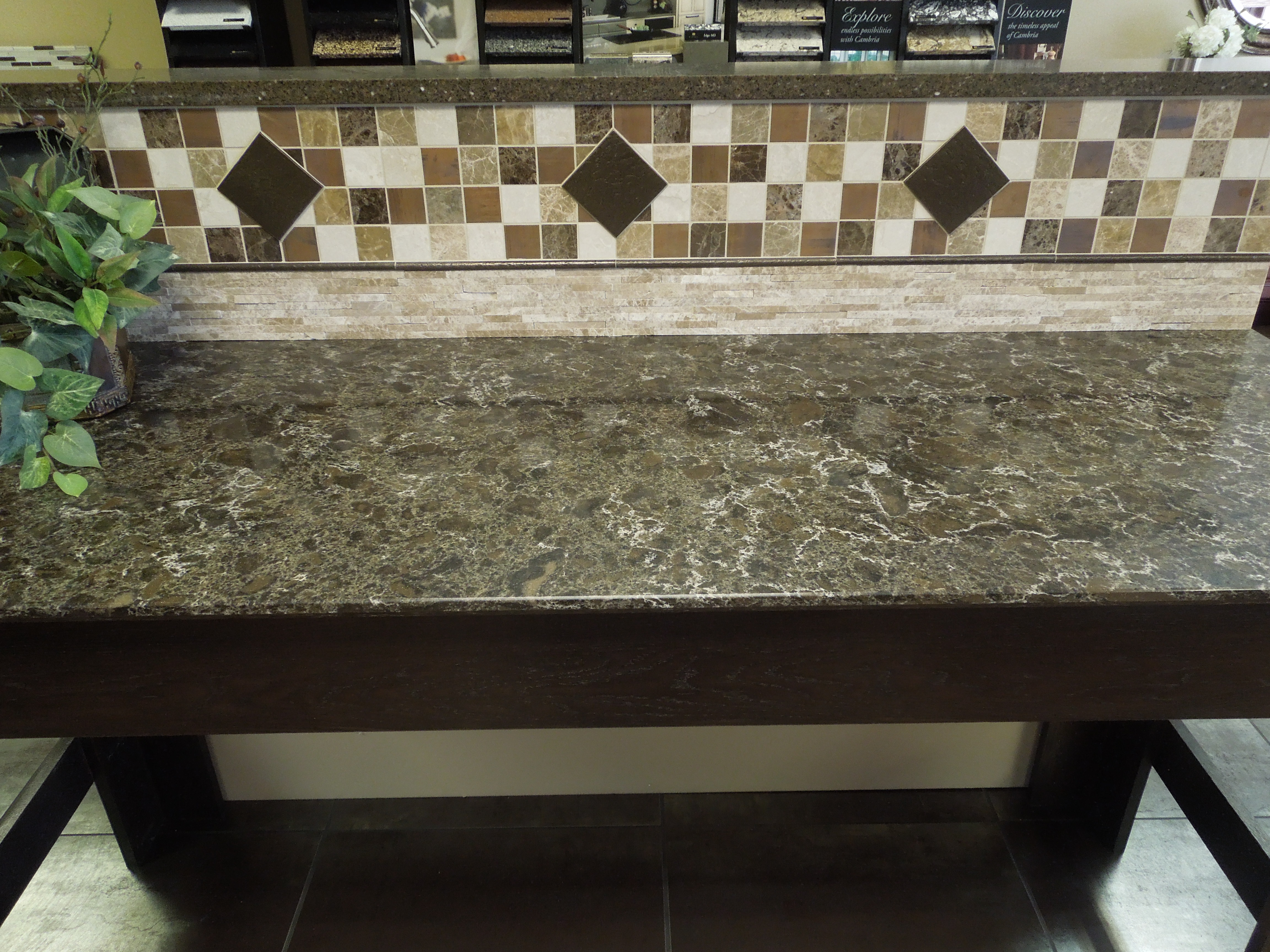 Whats a countertop without awesome tile backsplash creative random 22 tile with 44 metallic separated with metallic pencil strip mosiac tile backsplash dailygadgetfo Choice Image