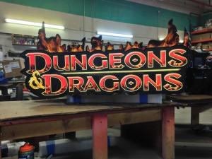Dungeons & Dragons backlit sign.