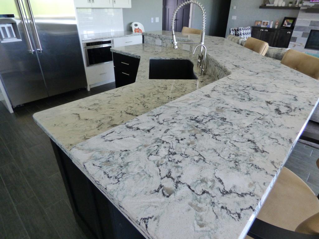 White Kitchen Grey Counter Top
